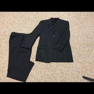 Men's black pinstriped suit